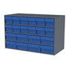 Stackable Cabinet, 35x17x22, 16 Drawers, Gray/Blue