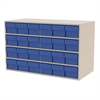Stackable Cabinet, 35x17x22, 24 Drawers, Putty/Blue