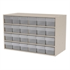 Stackable Cabinet, 35x17x22, 24 Drawers, Putty/Clear