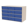 Stackable Cabinet, 35x17x22, 16 Drawers, Putty/Blue