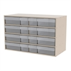 Akro-Mils Stackable Cabinet, 35x17x22, 16 Drawers, Putty/Clear