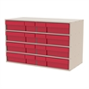 Akro-Mils Stackable Cabinet, 35x17x22, 16 Drawers, Putty/Red