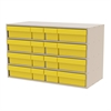 Akro-Mils Stackable Cabinet, 35x17x22, 16 Drawers, Putty/Yellow