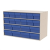 Stackable Cabinet, 35x17x22, 20 Drawers, Putty/Blue