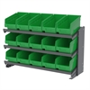 Bench Pick Rack, 15 ShelfMax, Gray/Green