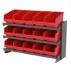 Akro-Mils Bench Pick Rack, w/ 15 ShelfMax, Gray/Red