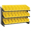 Bench Pick Rack w/ 24 Shelf Bins, Gray/Yellow