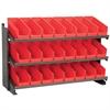 Akro-Mils Bench Pick Rack w/ 24 Shelf Bins, Gray/Red