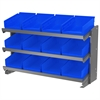 Akro-Mils Bench Pick Rack, w/ 12 Shelf Bins, Gray/Blue