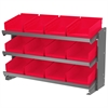 Bench Pick Rack, w/ 12 Shelf Bins, Gray/Red