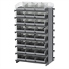 12 2-Sided Pick Rack, 48 ShelfMax, Gray/Clear
