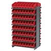 Akro-Mils 12 2-Sided Pick Rack, 128 ShelfMax, Gray/Red