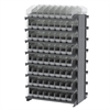 12 2-Sided Pick Rack, 128 ShelfMax, Gray/Clear