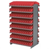 12 2-Sided Pick Rack, 192 Shelf Bins, Gray/Red