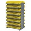 Akro-Mils 12 2-Sided Pick Rack, 192 Shelf Bins, Gray/Yellow