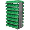 12 2-Sided Pick Rack, 144 Shelf Bins, Gray/Green