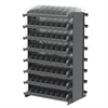 12 2-Sided Pick Rack, 144 Shelf Bins, Gray/Clear