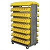12 2-Sided Pick Rack, 144 Shelf Bins, Gray/Yellow