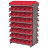 Akro-Mils 12 2-Sided Pick Rack, 84 Shelf Bins, Gray/Red