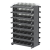 12 2-Sided Pick Rack, 84 Shelf Bins, Gray/Clear