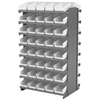12 2-Sided Pick Rack, 84 Shelf Bins, Gray/White