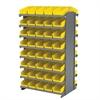 Akro-Mils 12 2-Sided Pick Rack, 84 Shelf Bins, Gray/Yellow