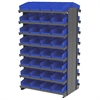 12 2-Sided Pick Rack, 64 Shelf Bins, Gray/Blue