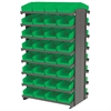 Akro-Mils 12 2-Sided Pick Rack, 64 Shelf Bins, Gray/Green