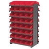 Akro-Mils 12 2-Sided Pick Rack, 64 Shelf Bins, Gray/Red