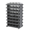 12 2-Sided Pick Rack, 64 Shelf Bins, Gray/Clear