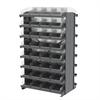 Akro-Mils 12 2-Sided Pick Rack, 64 Shelf Bins, Gray/Clear