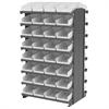 12 2-Sided Pick Rack, 64 Shelf Bins, Gray/White
