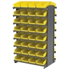 Akro-Mils 12 2-Sided Pick Rack, 64 Shelf Bins, Gray/Yellow