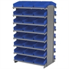 12 2-Sided Pick Rack, 48 Shelf Bins, Gray/Blue