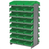 12 2-Sided Pick Rack, 48 Shelf Bins, Gray/Green