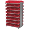 Akro-Mils 12 2-Sided Pick Rack, 48 Shelf Bins, Gray/Red