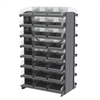12 2-Sided Pick Rack, 48 Shelf Bins, Gray/Clear