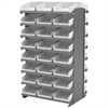 12 2-Sided Pick Rack, 48 Shelf Bins, Gray/White