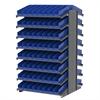 Akro-Mils 18 2-Sided Pick Rack, 132 Shelf Bins, Gray/Blue
