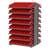 18 2-Sided Pick Rack, 132 Shelf Bins, Gray/Red