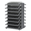 18 2-Sided Pick Rack, 132 Shelf Bins, Gray/Clear