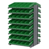 18 2-Sided Pick Rack, 84 Shelf Bins, Gray/Green