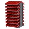 18 2-Sided Pick Rack, 84 Shelf Bins, Gray/Red