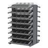 18 2-Sided Pick Rack, 84 Shelf Bins, Gray/Clear
