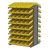 18 2-Sided Pick Rack, 84 Shelf Bins, Gray/Yellow