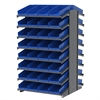 18 2-Sided Pick Rack, 72 Shelf Bins, Gray/Blue