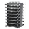 18 2-Sided Pick Rack, 72 Shelf Bins, Gray/Clear