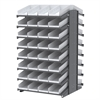 18 2-Sided Pick Rack, 72 Shelf Bins, Gray/White