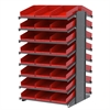 18 2-Sided Pick Rack, 48 Shelf Bins, Gray/Red
