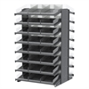 Akro-Mils 18 2-Sided Pick Rack, 48 Shelf Bins, Gray/Clear